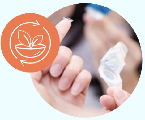 reciclar los empaques de los Lentes de Contacto, los Lentes de Contacto ACUVUE®  reducen el desperdicio con empaques sostenibles